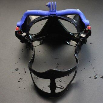 โอ้กล้องใต้น้ำการดำน้ำหน้ากากดำน้ำตื้น ๆ แว่นว่ายน้ำสำหรับ GoPro สีน้ำเงิน
