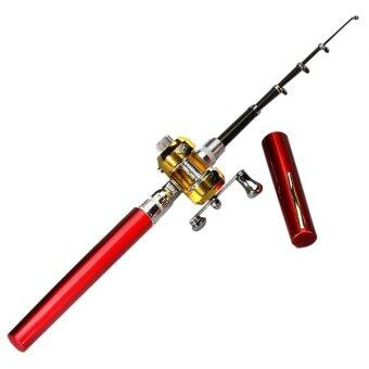 ปากกามินิแบบพกพากระเป๋าอลูมิเนียมอัลลอยรูปทรงปลาคันเบ็ดรอกเสาสีแดง