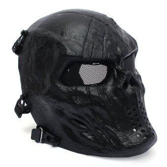 Airsoft หน้ากากหัวกะโหลกบอลเต็มหน้ายุทธวิธีการป้องกันอุปกรณ์กลางแจ้งสีดำ