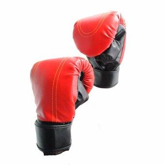 Kinglion Sport แบคชกสีแดง แบ็คชกมวย แบ็กชกกระสอบทราย นวมชกมวย นวมมวย นวมต่อยมวย นวมซ้อมมวยไทย RED PU Leather Muay Thai Kick Boxing Gloves