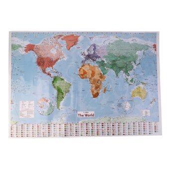 โอนิว 97.5 x 67.5 ใหญ่แผนที่โลกแผนภูมิภาพด้านการสอนภาษาฝรั่งเศส