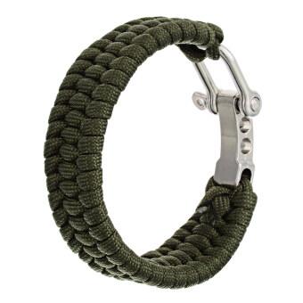ฉุกเฉินกลางแจ้งและเอาตัวรอด Paracord สร้อยข้อมือ-กองทัพสีเขียว