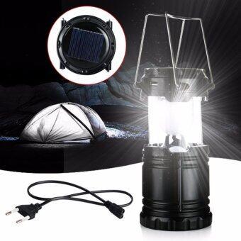 โคมไฟ ตะเกียง ไฟฉายแคมปิ้ง ใช้ได้ทั้งพลังแสงอาทิตย์ ชาร์จไฟ และใช้ถ่าน (Black)