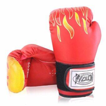 Kinglion Sport นวมชกมวยลายไฟสีแดง ขนาด12ออนซ์ นวมมวยสำหรับผู้ใหญ่ นวมต่อยมวยผู้ชาย นวมซ้อมมวยไทย นวมลายไฟ 12OZ RED PU Leather Muay Thai Kick Boxing Gloves for Men