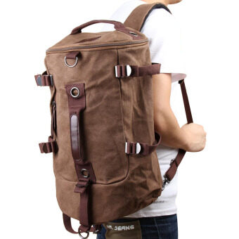 Harga Canvas Man Backpack Travel Bag Coffee - Intl
