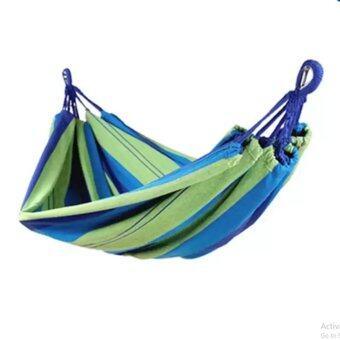 -เปลญวนผ้าแบบพกพาขนาด 190x80cm (สีเขียวฟ้า)