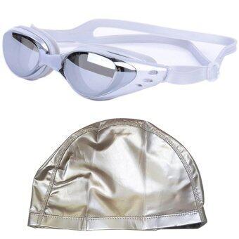 แว่นตาว่ายน้ำ กันยูวี กันฝ้า กันUV - พร้อม หมวกว่ายน้ำกันน้ำ