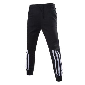 แฟชั่นกางเกงกางเกงทรงฮาเร็มผู้ชายวิ่งชุดกีฬา (สีดำ)
