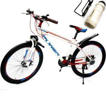 จักรยานเสือภูเขา 26 นิ้ว 21 เกียร์ ดิสเบรคหน้าและหลัง(สีขาว/แดง)
