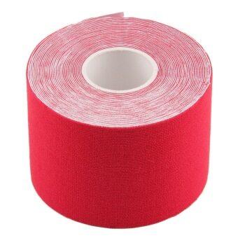 โอ้ 1 ม้วน 5ซม x 5แผ่นอีลาสติกเทปกีฬากายภาพบำบัดความปวดเมื่อยกล้ามเนื้อสีแดง-ระหว่างประเทศ