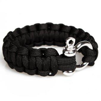 Harga Police Thin Blue Line Black and Blue Paracord Survival Bracelet (Intl)