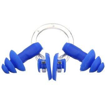 ซิลิโคนกันน้ำนุ่มหูจมูกคลิปชุดว่ายน้ำที่มีปลั๊กอุดเครื่องมือสีน้ำเงิน