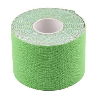 โอ้ 1 ม้วน 5ซม x 5แผ่นอีลาสติกเทปกีฬากายภาพบำบัดความปวดกล้ามเนื้อ (สีเขียว)-ระหว่างประเทศ