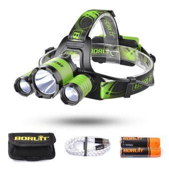Harga BORUiT 2200LM CREE XML L2 + 2 XPE LED Headlight Adjustable Headlamp 4 Modes with SOS Whistle for Camping Fishing Cycling (Green)