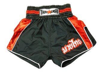 Thaismai กางเกงมวย Thai Boxing Shorts Nylon strip (สีดำ/แดง)