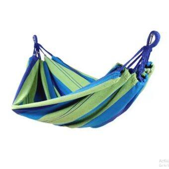 I GOU-เปลญวนผ้าแบบพกพาขนาด 190x80cm (สีเขียวฟ้า)