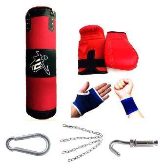 Kinglion Sport 100CM ชุดกระสอบทรายแขวน+แบ็คชก+ที่รัดมือ+ที่รัดข้อมือ กระสอบทรายผ้าใบพร้อมโซ่และตะขอเกี่ยว กระสอบทรายซ้อมมวย กระสอบทรายชกมวยพร้อมนวม Boxing Punch Bag / Heavy Bag