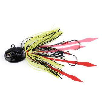 Harga Black Squid Head Buzz Bait Fishing Lure With Silicone Skirt Saltwater Hooks (Black) - intl