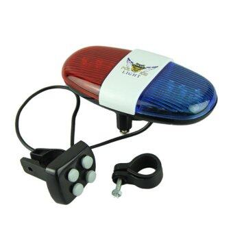 Harga Bike Bicycle Police Car 6 LED Light 4 Sounds Trumpet Cycling Horn Bell AM1P233 (Multicolor)