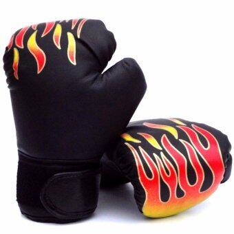 Kinglion Sport นวมชกมวยเด็กลายไฟสีดำ นวมมวยสำหรับเด็ก นวมต่อยมวย นวมซ้อมมวยไทย นวมเด็ก BLACK Fire Flame PU Leather Muay Thai Kick Boxing Gloves for Kids