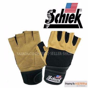 Schiek ถุงมือยกน้ำหนัก ถุงมือฟิตเนส Fitness Glove (Yellow Size XL)