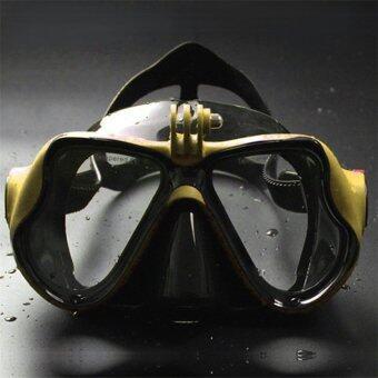 โอ้กล้องใต้น้ำการดำน้ำหน้ากากดำน้ำตื้น ๆ แว่นว่ายน้ำสำหรับ GoPro สีเหลือง