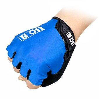 Harga JinGle Sport Bike Racing Riding Protective Half Finger Short Gloves XL (Blue)