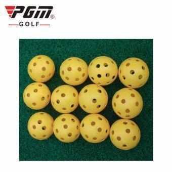 PGM ลูกกอล์ฟ พลาสติก สำหรับฝึกหัดตีกอล์ฟ แพ็ค 12 ลูก (Q009)(RED)