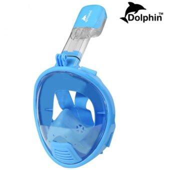 Dolphin หน้ากากดำน้ำ สำหรับเด็ก แบบเต็มหน้า สน็อกเกิ้ล รุ่นใหม่ DP03N (สีฟ้า)