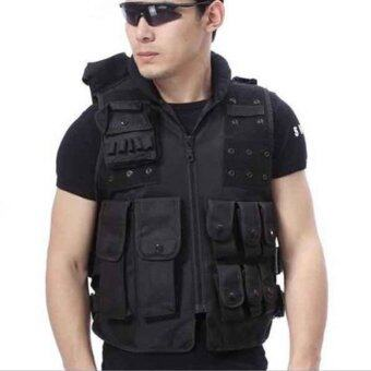 Harga Tactical Airsoft Molle Paintball Wargame Outdoor SWAT Police Combat Assault Vest - intl
