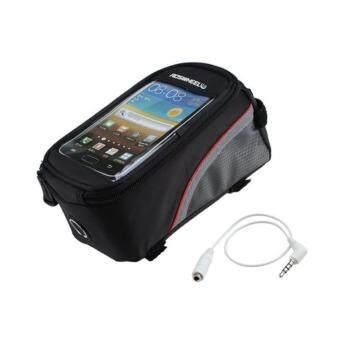 iremax Roswheel กระเป๋าใส่มือถือติดจักรยาน เส้นแดง (สีดำ) size: M