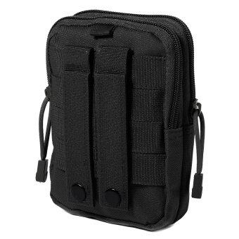 Tactical Military Molle Waist Bag Outdoor Sport Saddlebag Purse Phone Case (Black)