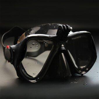 โอ้กล้องใต้น้ำการดำน้ำหน้ากากดำน้ำตื้น ๆ แว่นว่ายน้ำสำหรับ GoPro สีดำ