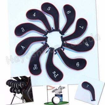 Hayashi Cover ไม้กอล์ฟใส่ชุดเหล็กเหล็กแบบ Zip Cover Iron สีดำ คาดฟ้า