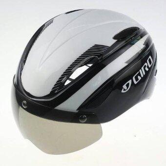 CBIKE Giro หมวกกันน็อกจักรยาน+พร้อมแว่นตาในตัว หมวกจักรยาน หมวกทรงแอโร่ สีขาวดำ ใส่ได้ทั้งชาย/หญิง(57-62)