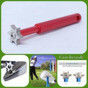 Hayash i- อุปกรณ์เซาะร่องหน้าเหล็กไม้กอล์ฟแบบ 6 หัว Golf Club Groove Sharpening Tool