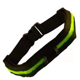 Itsara Sport Bag กระเป๋าคาดเอวใส่วิ่งออกกำลังกาย แบบ 2 ช่อง ( Green/Black )