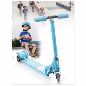 Scooter สกู๊ตเตอร์ 3 ล้อมีไฟสำหรับเด็ก ปรับความสูง พับเก็บได้ (สีฟ้า)