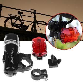 Elit ชุดไฟจักรยาน หน้า/หลัง พร้อมอุปกรณ์ Bike Light Head & Tail LED Set (Black)