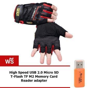 Elit Mechanix ถุงมือ ฟิตเนส ยกน้ำหนัก fitness weight lifting gloves (Red) แถมฟรี SD Card Reader