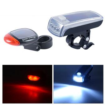 โคมไฟหน้าและไฟท้ายจักรยาน ชาร์จผ่าน USB และโซล่าเซลล์