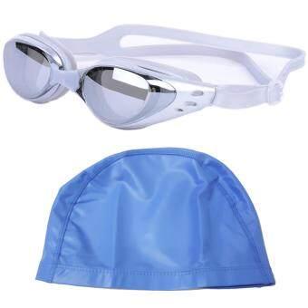 แว่นตาว่ายน้ำ กันยูวี กันฝ้า กันUV - สีเทา พร้อม หมวกว่ายน้ำกันน้ำ -สีฟ้า
