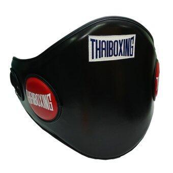 THAIBOXING เป้าป้องกันหน้าท้องหนังเทียม สีดำ