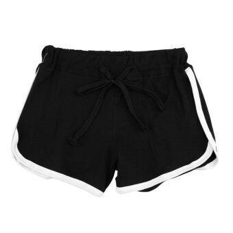 แฟชั่นผู้หญิงกางเกงกีฬาสีดำเอวยางยืดโยงกางเกงด้านโยคะกัน