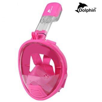 Dolphin หน้ากากดำน้ำ สำหรับเด็ก แบบเต็มหน้า สน็อกเกิ้ล รุ่นใหม่ DP03N (สีชมพู)
