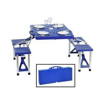 โต๊ะกระเป๋า พร้อมเก้าอี้ติด พับเก็บได้(สีน้ำเงิน)