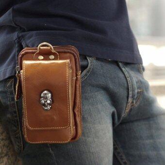 SAPA กระเป๋าหนังแท้ร้อยเข็มขัด ขนาด 7 นิ้ว (หัวกระโหลก) เหมาะสำหรับใส่โทรศัพท์ พลาสปอร์ต แบตเตอร์รี่สำรอง รุ่น SPD03