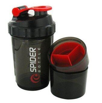 Spider Bottle ขวดเชคเวย์โปรตีน แยกเก็บอาหารเสริมแบบผงและแบบเม็ดได้ ความจุ 600 มล. สีดำ/แดง