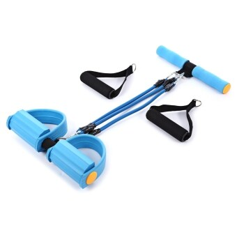 Resistance Band Fitness Tubing with Exercise Pedal (Blue)