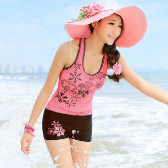 ไซเบอร์บีเสื้อกีฬาเสื้อสตรีกางเกงขาสั้นชุดว่ายน้ำชุดว่ายน้ำอีกเซ็ต (สีชมพู)